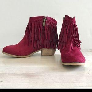 Bella Marie leather booties sz7 deep maroon